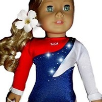 "Gymnastics USA Leotard Sparkle Dance Set - 2 PC Lot - Fits American Girl Dolls - QUALITY 18"" Doll Clothes by DOLL CONNECTIONS"