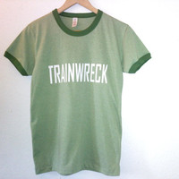 Trainwreck TShirt / Graphic  / Ringer TShirt / Good Girl Gone Bad / Hot Mess / Green / Indie / Rock N Roll / Summer / Festival /Street Style