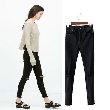 Women's Fashion Ripped Holes Stretch Jeans Skinny Pants [4919014660]