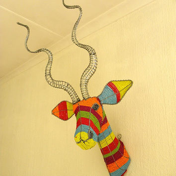 African Beaded Wire Animal Sculpture - KUDU ANTELOPE TROPHY Head - Rainbow w/ Alu Horns