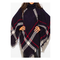"""Always My Style"" HUGE Cowl Neck Navy Plaid Poncho"