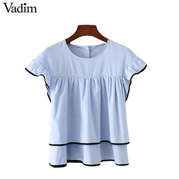 Vadim sweet ruffles pleated doll shirts butterfly short sleeve double layers cute blouse ladies casual tops blusas DT1067