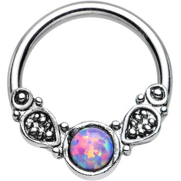 "14 Gauge 1/2"" Synthetic Light Purple Opal Tribal Fantasy Captive Ring"