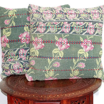 2.vintage kantha sari pillow cover handmade reversibal kantha cushion cover vintage kantha cushion covers