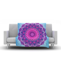 "Iris Lehnhardt ""Grunge Mandala"" Purple Blue Fleece Throw Blanket"