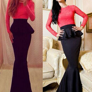 Red and Black Peplum Long Sleeve Mermaid Gown