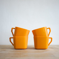 Vintage Plastic Cups // 1970 French Mugs // Pumpkin Orange // Spring Colors // Retro Kitchen