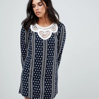 The English Factory Long Sleeve Dress With Crochet Trim at asos.com