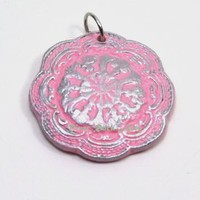 Pink and Silver Vintage-Style Ceramic Pendant