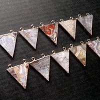 Crazy Lace Agate Necklace Stone Triangle Necklace Crazy Lace Agate Pendant Geometric Jewelry Triangle Pendant Agate Jewelry Stone Necklace