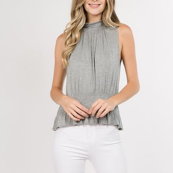 Smocked Sleeveless Top in Grey