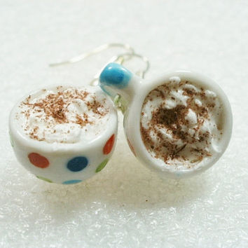 Cappucino Cup Earrings. Polymer clay.