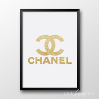 Chanel logo print, Printable Chanel, Gold decor, Wall art, Gold chanel logo 245