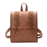 Vintage Leather Backpack Women Mini Bagpack Weave