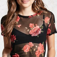 Semi-Sheer Floral Mesh Tee - Women - Tops - 2000113139 - Forever 21 Canada English