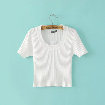 Summer Slim Round-neck Short Sleeve Knit Women's Crop Top Tops [8173573575]