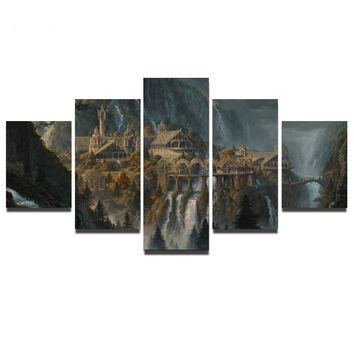 Modular Poster HD Printed Canvas Painting Art 5 Pieces Canvas Art Artwork The Lord of The Rings Castle Unframed