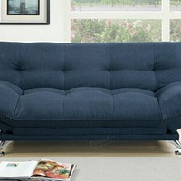 Jasmine collection Navy polyfiber fabric upholstered adjustable overstuffed sofa futon