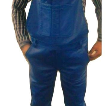 Mens Fashion Leather Overalls Smooth Sheepskin