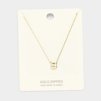 'B' Gold Dipped Metal Pendant Necklace