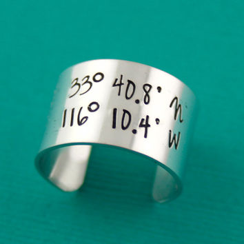 Latitude and Longitude Ring in Aluminum or Sterling Silver - Adjustable Wide Band Ring - Custom Statement Ring