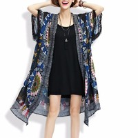 Women's Long Navy Tribal Ethnic Print Chiffon Kimono / Beach Coverup
