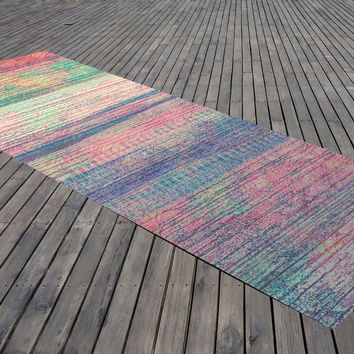 Reiki Charged Yoga Mat Stripe Grunge Ohm Meditation Mat Bohemian Design Exercise Mat
