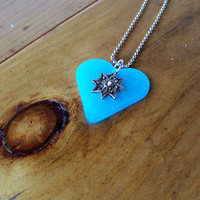 Glowing Blue Heart Necklace