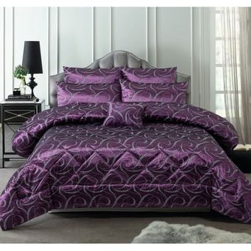 6 Piece 300TC Francesco Plum Jacquard Comforter Set by Accessorize