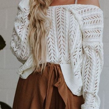 Lana Cable Knit Twist Sweater - White