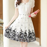 White Floral Print Peter Pan Collar Chiffon Dress