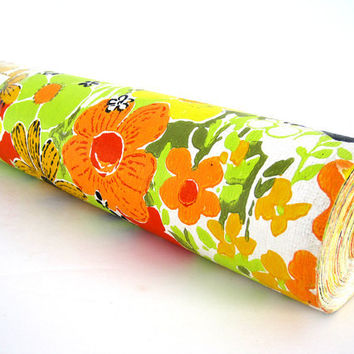 Retro Wallpaper Roll Vinyl Floral Orange Green De Soto 72 Sq Feet
