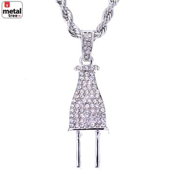 "Jewelry Kay style Men's Silver Plated Iced Out Electric Plug Pendant Rope Chain 24"" HC 1125 S"