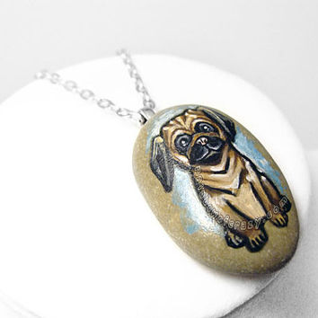 Pug Necklace, Dog Pendant, Pet Portrait, Charm Accessory, Hand Painted Rock, Beach Stone, Pet Owner Gift, Pet Memorial Jewelry