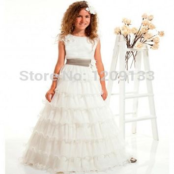 first communion dresses for girls 2017 new hot fashion scoop neck elegant tiered white bolero infantil vestidos de comunion