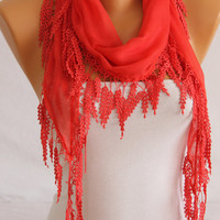 Coral Guipure Edged Cotton Scarf