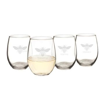 Bee Thankful Stemless Wine Glasses (Set of 4)
