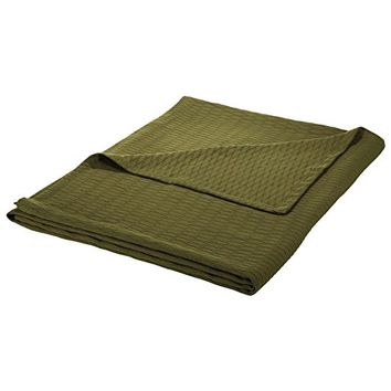 Diamond Weave Blanket - 100% Soft Premium Cotton Blanket - Perfect for Layering Any Bed, King, Forrest Green