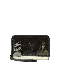 MARC by Marc Jacobs Space Techno Wingman Lenticular-Print Smartphone Wristlet, Black