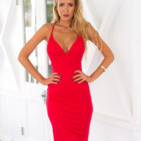 Red V-Neck Cross Strap Back Party Dress 12032