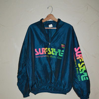 Vintage Surf Jacket 80s Windbreaker Surf Style Slouchy Zip Up Surfer Blue and Neon Pullover Jacket
