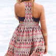 Let's Go To Maui Navy And Coral Print Racerback Side Cutout Dress