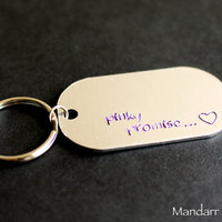 Dog Tag Keychain for Couples, Pinky Promise, Small Heart Stamp, Purple Juniper Font, His Hers, Anniversary Gift, Aluminum Dogtag