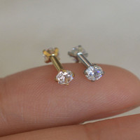 helix earring tragus earrings,3mm diamond cartilage earring,cool earring