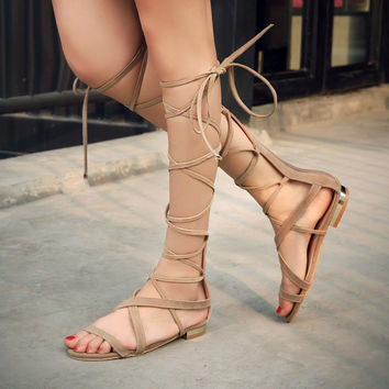 Summer Fashion Women's Shoes - Lace Up flat Sandals for summer Roman style knee length  = 4777200452
