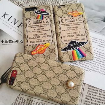 GUCCI Trending Fashion iPhone Phone Cover Case For iphone 6 6s 6plus 6s-plus 7 7plus hard shell Black White G