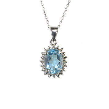 925 Sterling Silver Diamond and Blue Topaz Necklace 16mm Oval 18 Inch Chain