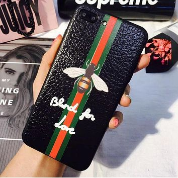 Background black Gucci Bee stripe iPhone Phone Cover Case For iphone 6 6s 6plus 6s-plus 7 7plus