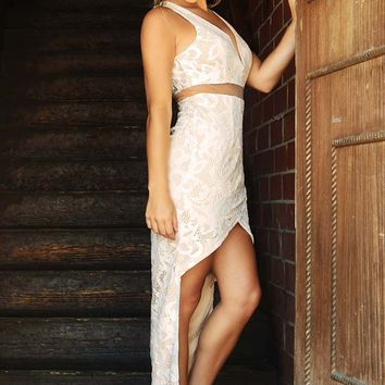 Make It Beautiful Dress: White/Nude
