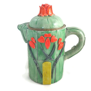 Art Nouveau style teapot handmade polymer clay over ceramic sage and poppy red